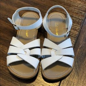 White saltwater sandals youth size 2